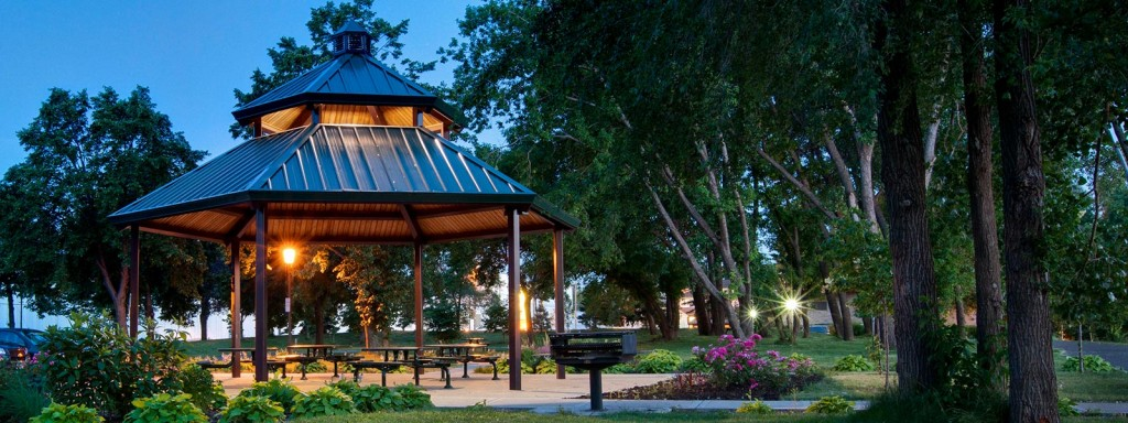 Bottineau Gazebo at night