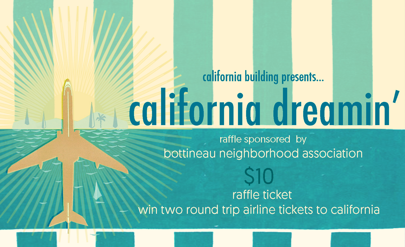 California Dreamin raffle ticket artwork